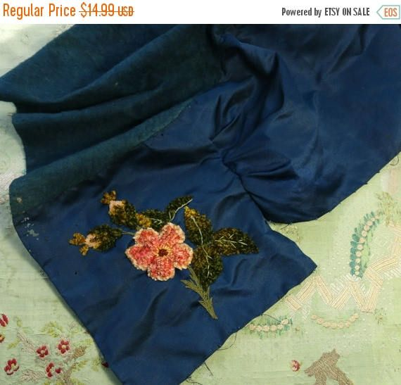 ON SALE Antique ribbonwork silk velvet plush panel  embroidered navy blue teal satin remnant thick plush vibrant victorian fabric material