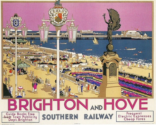 Brighton and Hove  Southern Railway poster in a lovely pink.