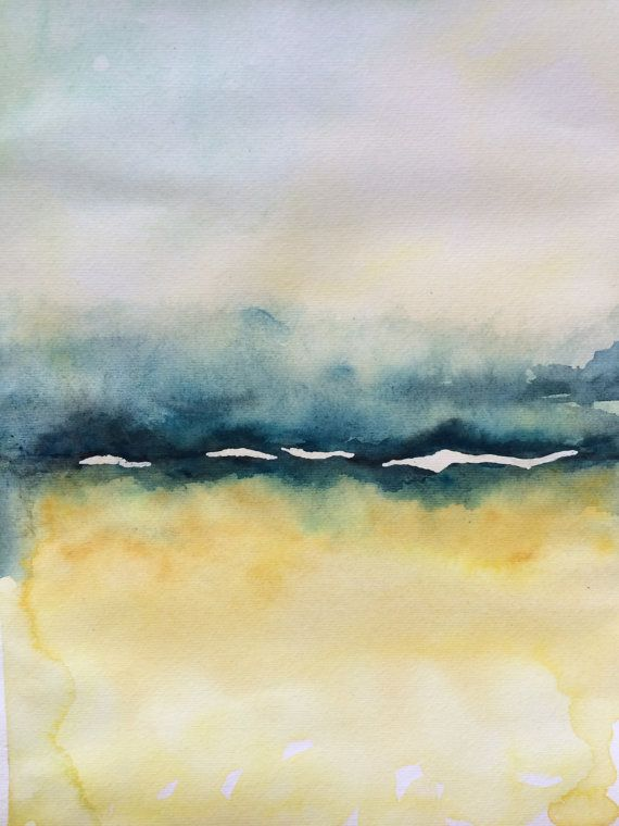 Abstract watercolor landscape painting in yellows and for How to paint abstract with watercolors