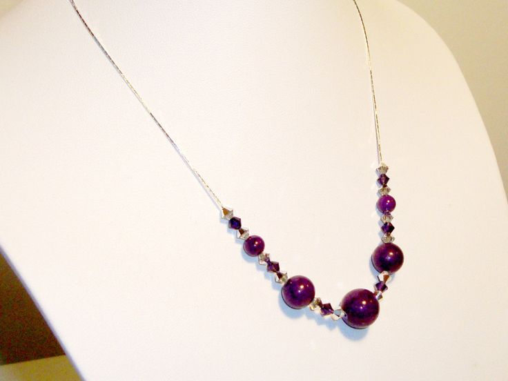 Violet, Purple, Amethyst Mountain jade, Swarovski crystals and sterling silver chain necklace by AriadniCreations on Etsy