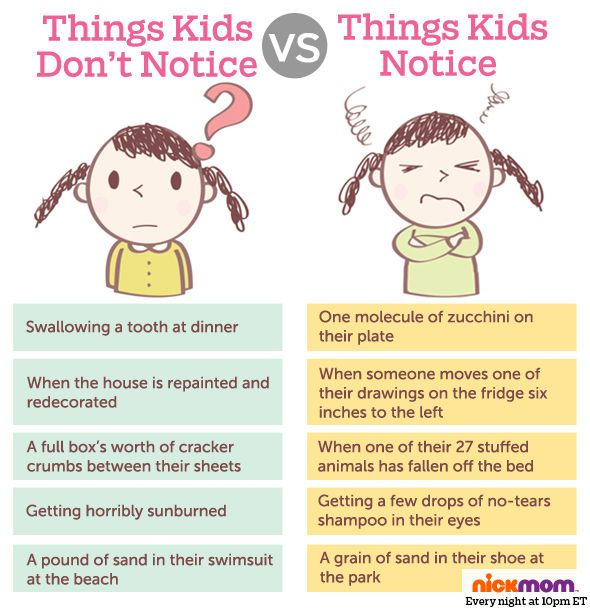 Things kids notice vs. things kids don't notice.