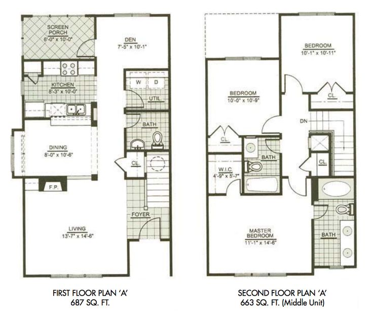 Two storey house plans on pinterest two on 3 bedroom townhouse plans 2
