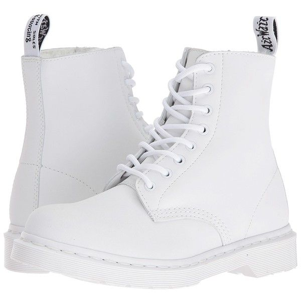 Dr. Martens Pascal FL 8-Eye Boot (White Cascade Split) Women's Lace-up... ($140) ❤ liked on Polyvore featuring shoes, boots, slip resistant boots, breathable shoes, laced up boots, white shoes and nubuck boots