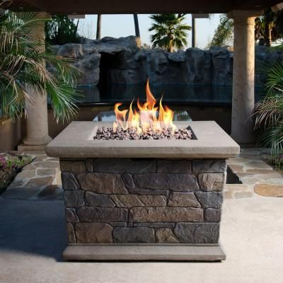 Bond Manufacturing Corinthian 34 in. Square Envirostone Propane Fire Pit-66596 - The Home Depot
