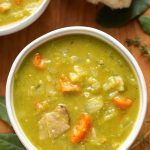 Instant Pot Split Pea Soup is a classic comfort food. Made with leftover ham, or bacon, ham hocks, or vegetarian, this is a flavorful soup. Make this split pea soup in your electric pressure cooker in about an hour. simplyhappyfoodie.com #instantpotrecipes #pressurecookerrecipes #instantpotsplitpeasoup