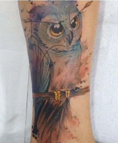 Watercolor tattoo owl