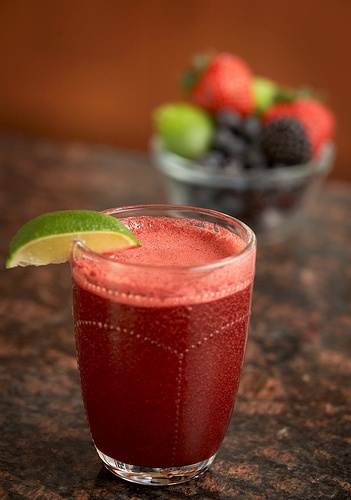 BetterBerry Juice      8 ounces fresh or thawed blueberries  8 ounces fresh or thawed blackberries  8 ounces fresh or thawed strawberries (de-leafed)  1 lime, peeled  Process through the juicer and serve immediately. Yields about 2½ cups.