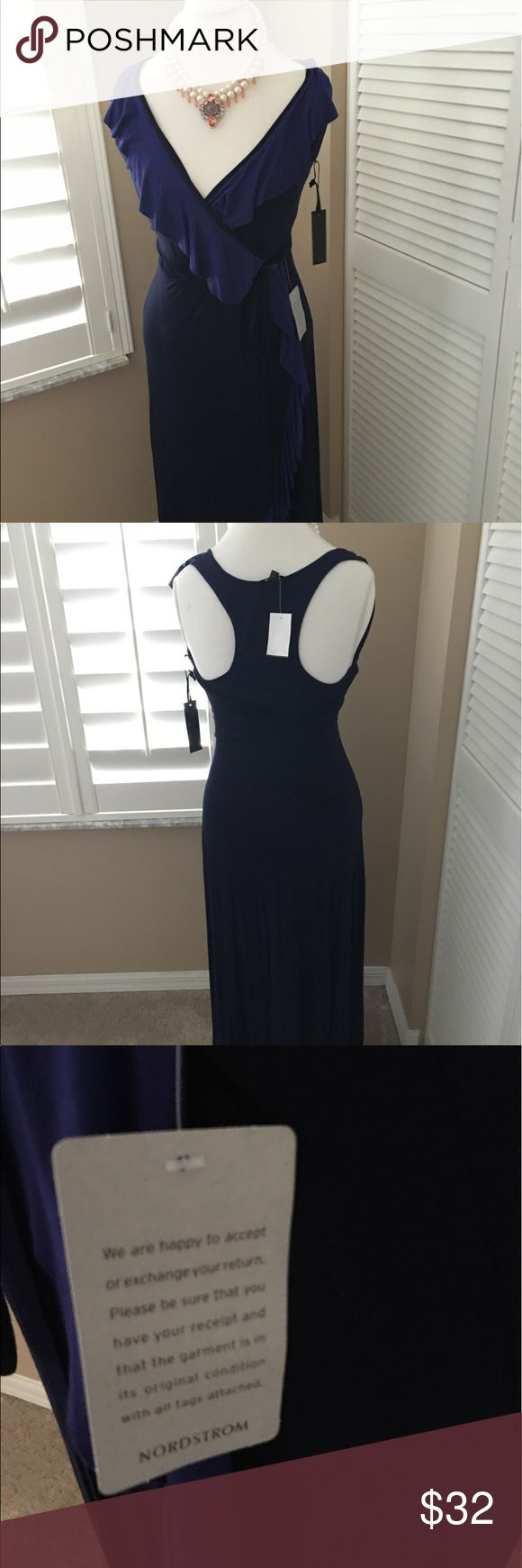 Felicia & COCO Dress 1 Hour sale New w/tags . Navy & a lighter Blue frames the dress .Very soft materials. Tags are attached I just didn't realize it was a racer  back .Smoke free home . Bought at Nordstrom . felicity & Coco Dresses Maxi