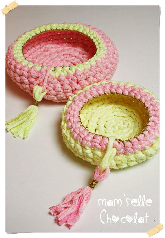 Basket lycra yarn crochet - Home decor Trap-Art