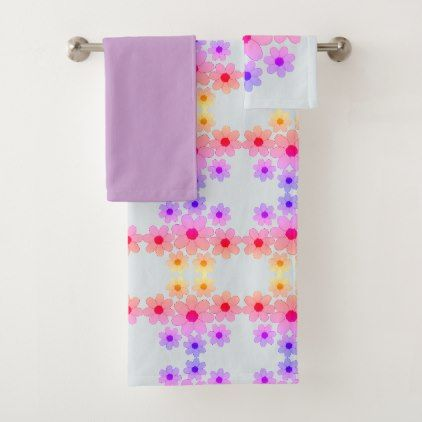 Girly Pink and Purple Flower Bath Towel Set - girly gift gifts ideas cyo diy special unique