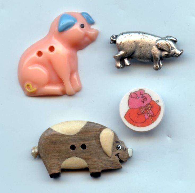 Pig buttons vintage and modern buttons