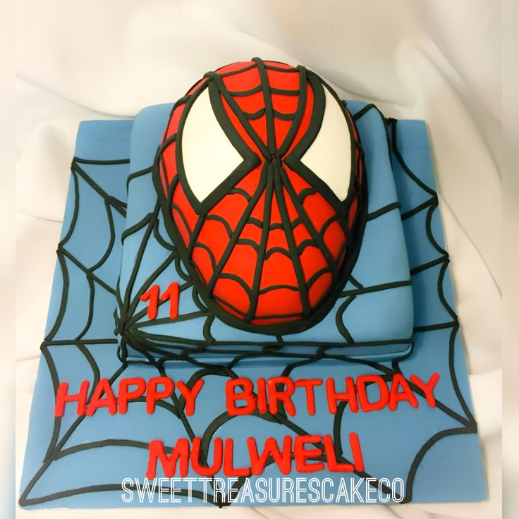 #spiderman #cake for #mulweli who turned #11. #chocolate #cake with #chocolate #ganache 😋. #spiderweb #customcakes #southafrica #sweettreasures #sweettreasurescakeco #joburg