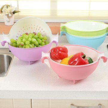 Kitchen Plastic Fruits Vegetables Drying Draining Basket Wash Rice Sieve Sifter Storage Basket