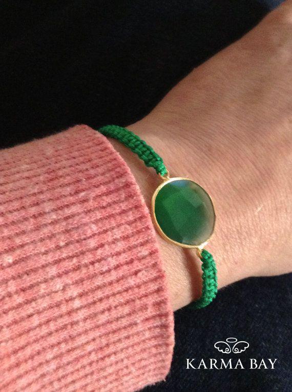 Gemstone Bezel Macrame Bracelet by KarmaBay on Etsy
