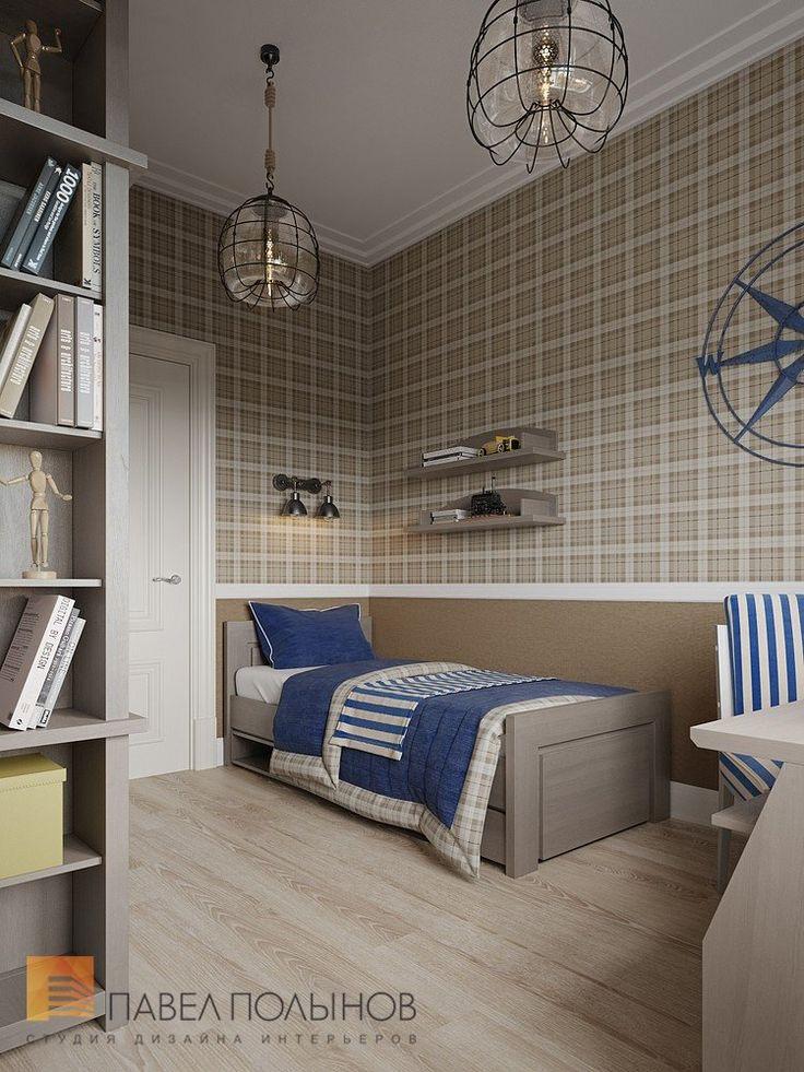 Детская комната мальчика в коричнево-синих цветах