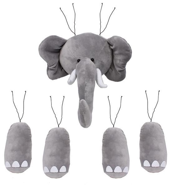 """Five Pc. 18""""H Elephant Decor Kit, Hounds Tooth, Alabama Decor by WhimsyWreathSupplies on Etsy"""