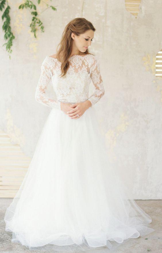 345d7d103 Straight Across Neckline Lace Sleeve Wedding Dress | Wedding Dresses ...