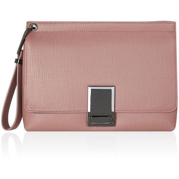 TopShop Colby Lock Clutch (725 EGP) ❤ liked on Polyvore featuring bags, handbags, clutches, wristlet handbags, locking purse, brown handbags, topshop handbags and wristlet purse