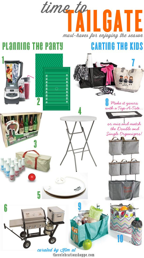 10 must haves for tailgating this football season whether you're planning parties or carting the kids to their own games | curated by Kim of  thecelebrationshoppe.com #tailgating