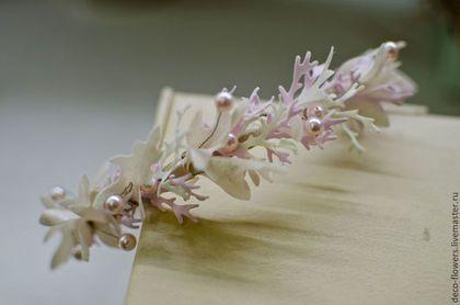 """Ободок невесты """"морской"""" - бежевый,ободок,Ободки с цветами,ободок для волос. Ручная работа, создано мною."""