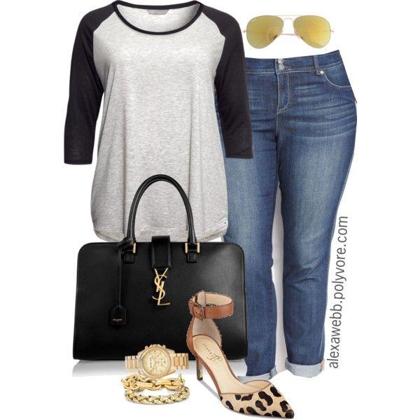 "#plus #size #outfit ""Plus Size - Baseball T & Heels"" by alexawebb on Polyvore #boyfriend #jeans #plussize"