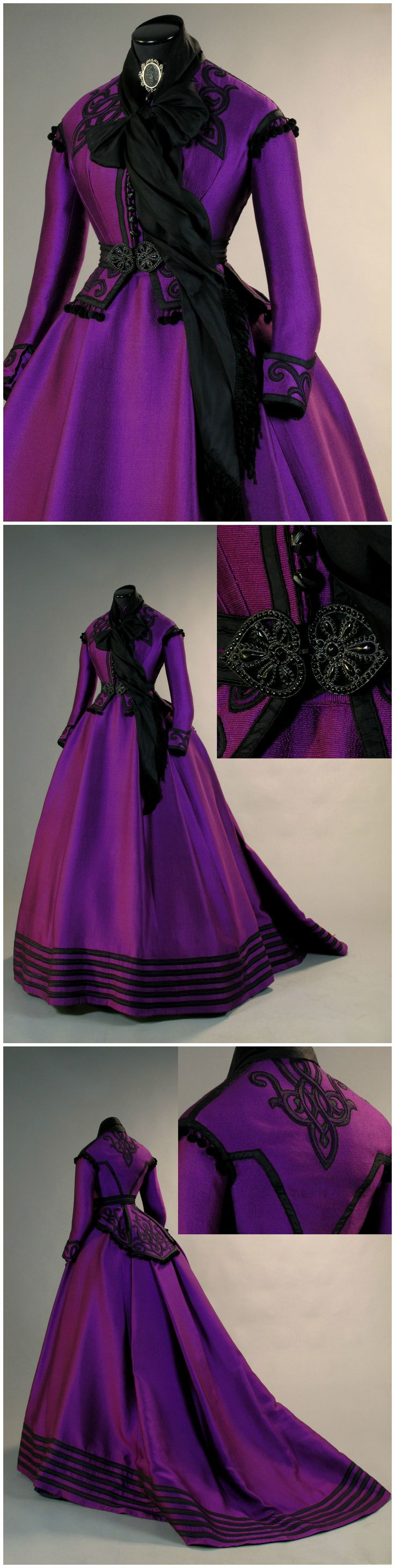 1860s-style purple silk dress, worn by Romy Schneider in the role of Empress Elisabeth of Austria in the film Ludwig (1972). Designed by Piero Tosi for Sartoria Tirelli (link: http://tirellicostumi.com/it/abito_oscar/ludwig_163).