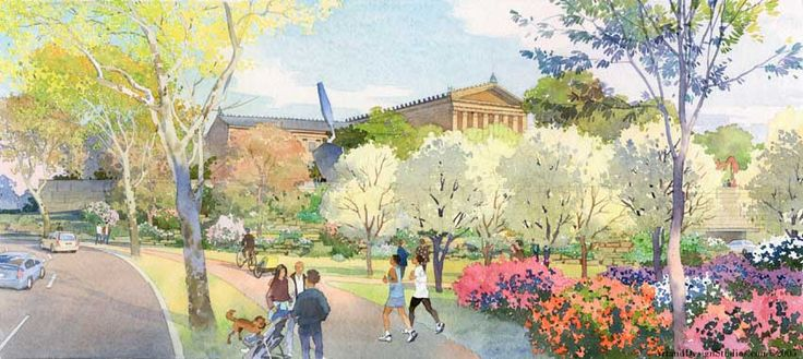architectural rendering in watercolor - museum landscape