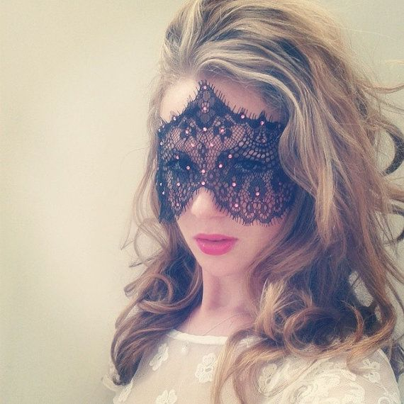Masquerade Lace Face Mask with Pink Crystals 50 Shades of
