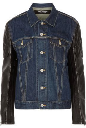 Junya Watanabe Comme Des Garçons Printed Denim And Faux Leather Jacket