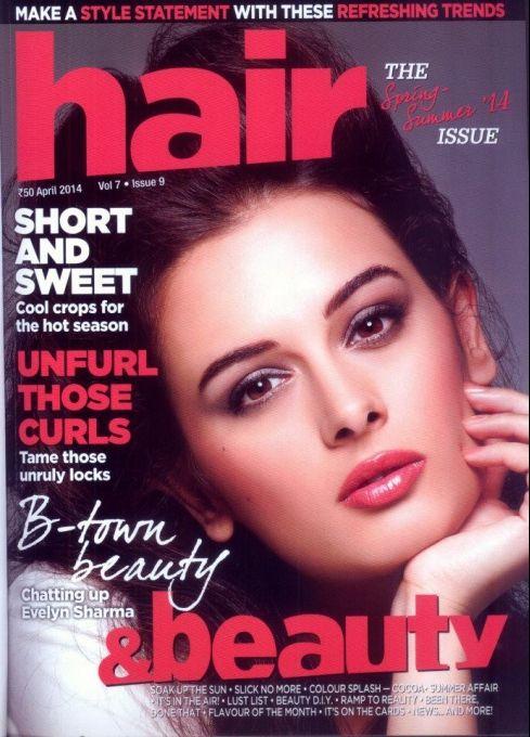 Evelyn Sharma on the cover of Hair & Beauty APR 2014 #Style #Bollywood #Fashion #Beauty