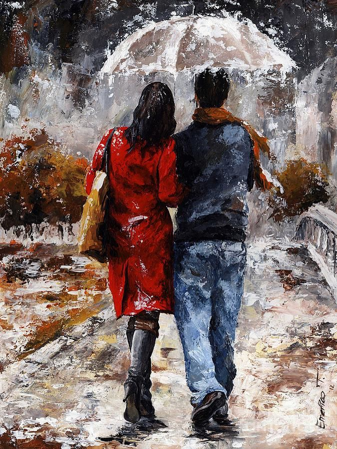 Amorous Painting - Rainy Day - Walking In The Rain by Emerico Imre Toth