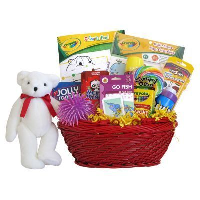 Kids Activity Station Price: $84.99 Send get well wishes or celebrate birthdays with a fun filled activity gift basket for kids. This colorful gift basket includes Crayola coloring book and crayons, set of water colors, Childrens card games, bubbles, pon pon ball, chocolate chip cookies, cracker jacks snack, life savor candy and a 10 inch teddy bear to complete this great all occasion gift basket. Free Shipping. Download Bookling