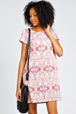 Kim Paisley Shift Dress at boohoo.com