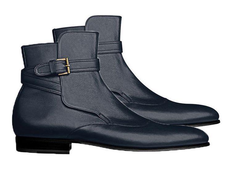 Navy Blue Jodhpurs Leather Boots, Jodhpurs Leather boots, Dress Boots - Boots