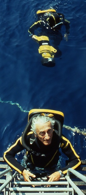 """Jacques-Yves Cousteau (French pronunciation: [ʒak iv kusto]; commonly known in English as Jacques Cousteau; 11 June 1910 – 25 June 1997)[1] was a French naval officer, explorer, conservationist, filmmaker, innovator, scientist, photographer, author and researcher who studied the sea and all forms of life in water. He co-developed the Aqua-Lung, pioneered marine conservation and was a member of the Académie française. He was also known as """"le Commandant Cousteau"""" or """"Captain Cousteau""""."""