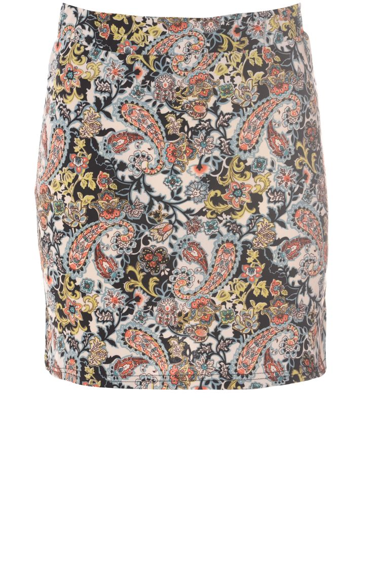 Multi Coloured Jersey Tube Skirt With Duck Egg Paisley Print on Glamorous