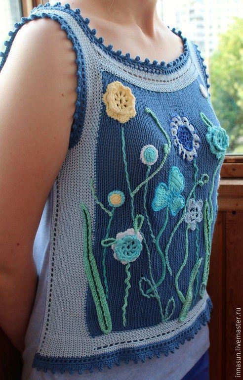 Купить Топ Летний луг - голубой, цветочный, топ, топ женский, топ вязаный, цветы