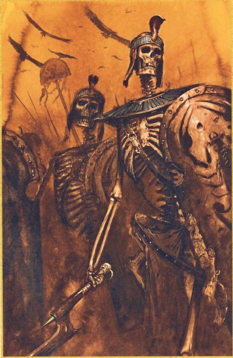 Guerrier squelette, par (auteur inconnu), in Warhammer Battle 8e édition livre d'armée Rois des tombes, par Games Workshop