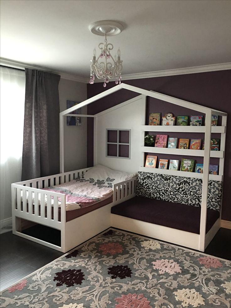 Wunderschönes Bett für Mädchen in Weiß mit Leseecke und Bücherregalen, Sonderanfertigung. DIY-Projekt. Für unser Haus gebaut. Meine Tochter liebt es! G…