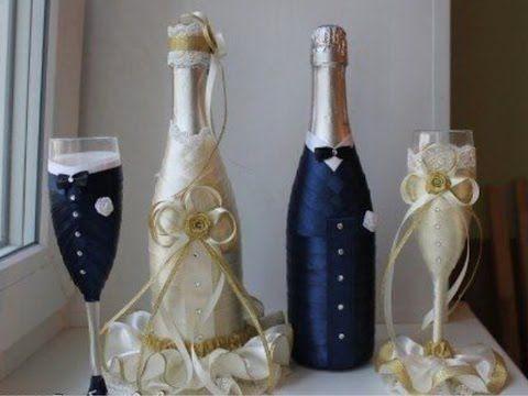 econmica y fcil decoracin para copas de bodas economical and easy decoration for wedding cups