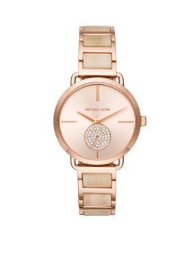 Michael Kors Women's Rose Gold-Tone Portia Champagne Acetate Watch - Rose Gold Nrf - One Size
