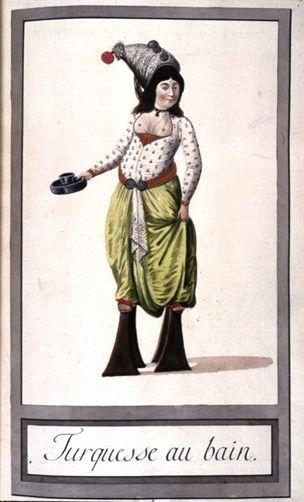 Turkish costume.  Turkish woman at the hammam or baths -1790