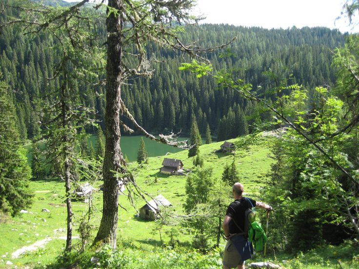 Hiking above Lake Bohinj
