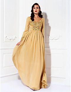 Lanting Bride® Trapèze Grande Taille / Petite Robe de Mère de Mariée  Longueur Sol Manches longues Mousseline de soie - Billes / Détail