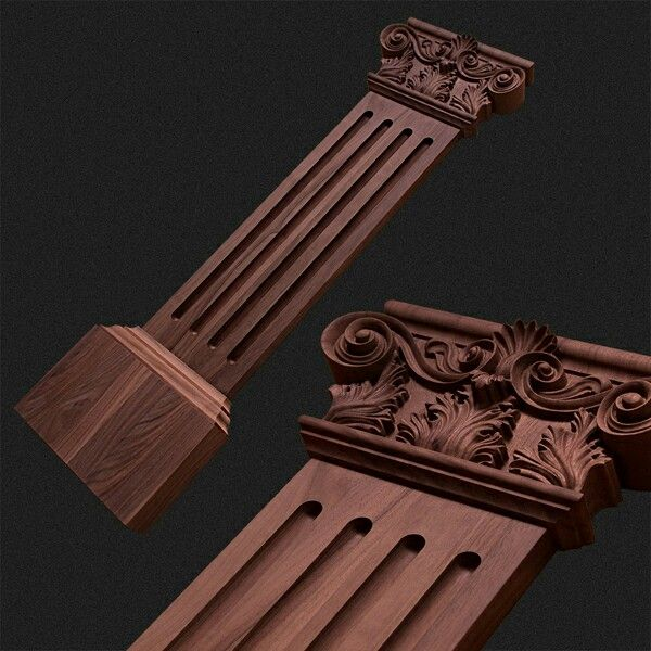 Flat pilaster with acanthus capital for interior design of residences and yacht projects.
