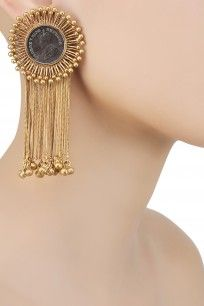Gold Plated Encircling Coin and Chain Earrings