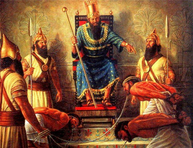 """Nebuchadnezzar was the most powerful of the Babylonian kings. His name is explained to mean """"Nebo is the protector against misfortune."""" He led his army against Pharaoh-necho, king of Egypt, defeated him at Carchemish, B.C. 605, (Jeremiah 46:2-12) recovered Coele-Syria, Phoenicia and Palestine, took Jerusalem, (Daniel 1:1,2) pressed forward to Egypt, and was engaged in that country or upon its borders when intelligence arrived which recalled him hastily to Babylon."""