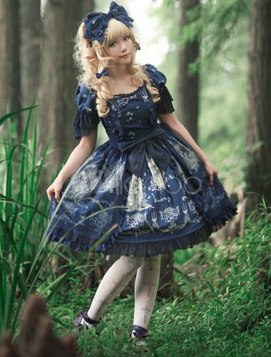 Sweet Cotton Bow Tangled Floral Print Lolita One-Piece Dress --->…