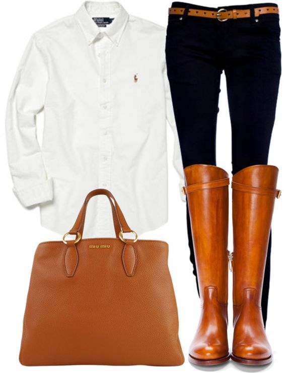 Love the boots and classic put together look