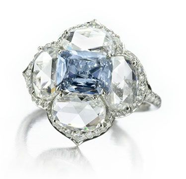 A Diamond Ring centering upon a Fancy Intense Blue Diamond of 1.15 carats, by Bhagat. Via FD Gallery, www.fd-inspired.com